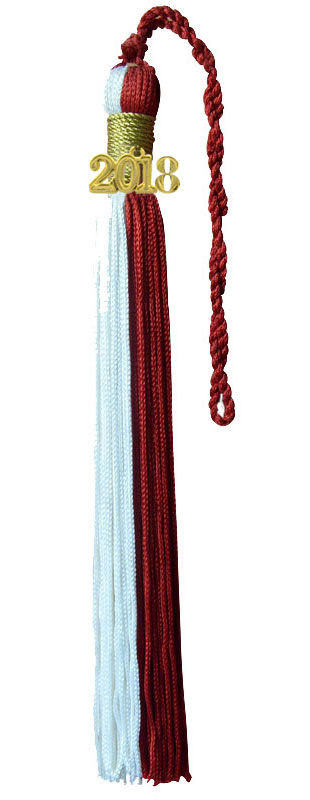 White and Red Graduation Tassel