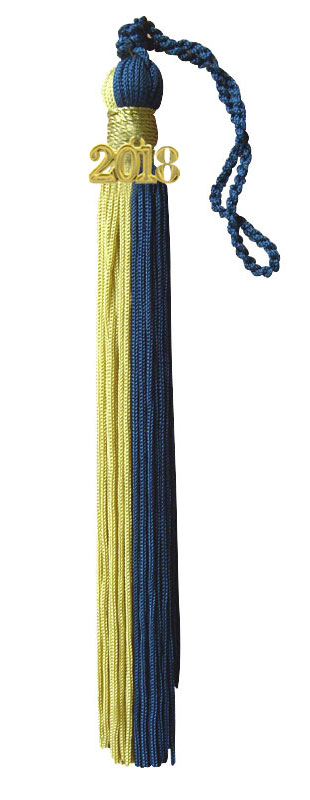 Royal Blue and Light Gold Graduation Tassel